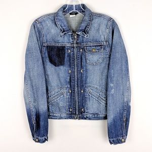 J. Crew | Denim Zip Distressed Jacket